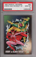 Vision and Scarlet Witch 1992 Marvel Universe Impel 85 Graded PSA 10 GEM MINT MARVEL X-MEN Collectible Trading Card POP
