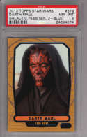 Darth Maul 2013 Topps Star Wars Galactic Files  379 Graded PSA 8 NM-MT Blue Foil SP /350 Collectible Trading Card POP 1