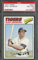 ALEX JOHNSON 1977 TOPPS #637 GRADED PSA 8 NM/MT VINTAGE *DETROIT TIGERS* s